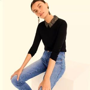 NWT J. CREW Black Tippi Sweater with Leopard Print Collar Size Large